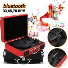 Étui rétro en plastique et bois 33/45/78 RPM, bluetooth PH/ INT/ BT 2.0, platine vinyle, lecteur de téléphone, enregistrement, 3 vitesses 3.5mm AUX IN
