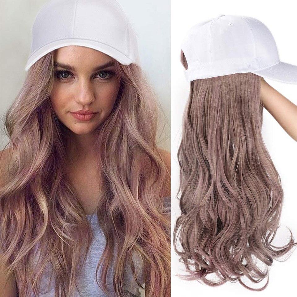 cabelo sintético longo ondulado cabelo chapéus brancos