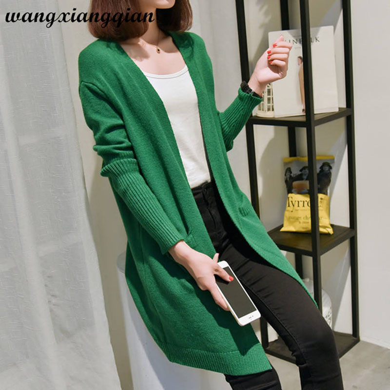 Women's Thin Sweater Cardigan Spring Autumn Rushed Knit Round Collar Wild Shawl Casual Loose Mid-length Female Knit Sweater Z32