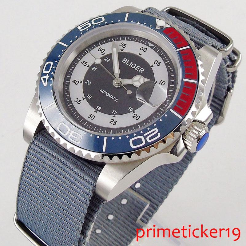 Black white dial blue red ceramic bezel 40mm sapphire glass date automatic movement men's watch nylon strap