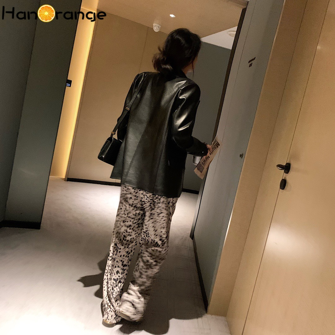 Купить pu faux leather suit jacket 2020 autumn spring lattice women