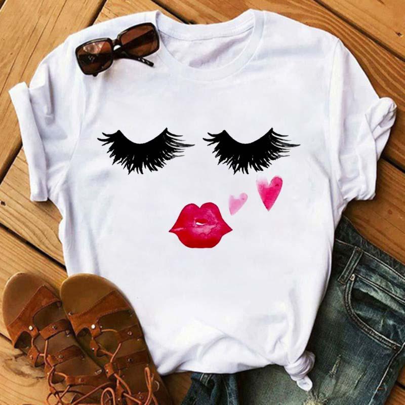 Maycaur Cute Eye Lashes Red Lips Print Women T Shirt Summer Casual Short Sleeve O Neck T-shirt Ladies White Shirt Female Tops
