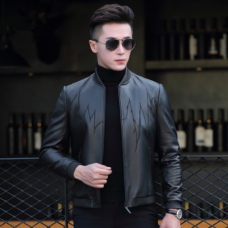 Genuine Leather Jacket Men Clothes 2020 Sheepskin Coats Motorcycle Baseball Leather Jacket Chaqueta P-CJ1755 ZL970