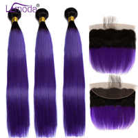 Ombre 3 Bundles With Frontal Brazilian Straight Human Hair Bundles With Closure Color 1B/Purple LeModa Remy Hair Extension