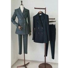 Work Casual 2 Pieces Set Women Pant Suits Notched Collar Blazer
