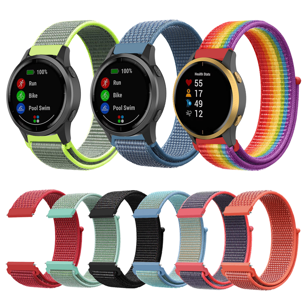 Woven Nylon Loop Strap Band For Garmin Watch Vivoactive 3 4 Venu/GarminMove/GarminActive/Forerunner 245 645 Bracelet Watchband