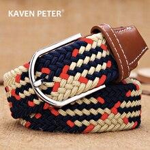 Men Women Elastic Stretch Belts One Size Casual Knitted Pin Buckle Belt Woven Canvas Webbing 2020 Fashion Jeans Belt 105 cm