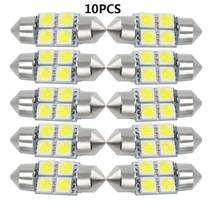 10 teile/los weiß 4 LED 4 smd Girlande Kuppel Auto Birne C5W 211 212 12V 31mm 4SMD 4led 5050 auto dome licht(China)
