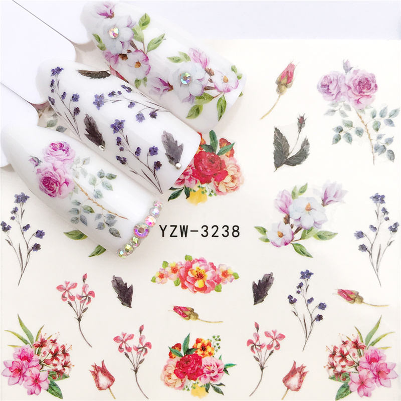 YWK 1 PC Nail Art Transfer Nail Stickers Water Decals Beauty Flowers Nail Design Manicure Stickers for Nails Decorations Tools