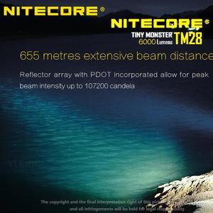 Image 5 - NITECORE linterna LED TM28 4 x CREE XHP35 HI 6000LM, 655M de distancia de haz, con cargador y 4 Uds. De baterías de ion de litio 18650 3100mAh