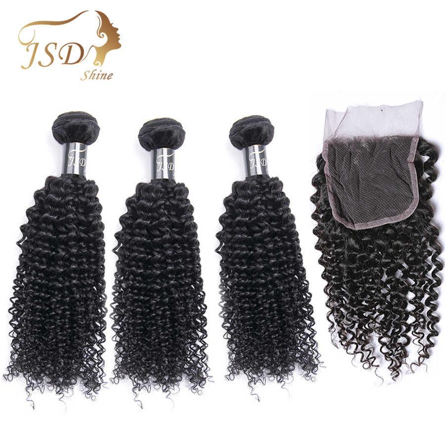 JSDShine brasileño Pelo Rizado rizado tejer paquetes con cierre Color Natural cabello humano paquetes con cierre no Remy