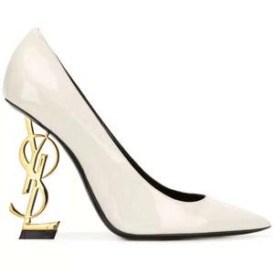 2020 Luxury Brands Leather French Socialite Stiletto Stiletto Heels Super Shallow Pointed Alphabet Women's Single Shoes No Box