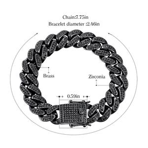 Image 4 - Cdyle pulseira masculina preta zircônia, corrente masculina, punk, hip hop, 18cm, marca superior/20.5cm/22cm