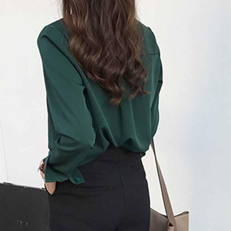 ผู้หญิงเสื้อลำลองสีฟ้าสำนักงานสุภาพสตรีเสื้อชีฟองเกาหลีสไตล์ฤดูใบไม้ร่วงสีเขียวแฟชั่น Vintage เสื้อสีขาว