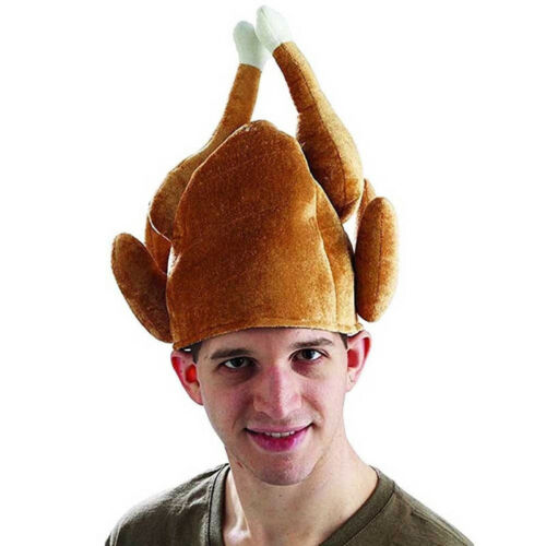 ROASTED TURKEY HAT Thanksgiving Costume Roast Chicken Raw Poultry Bird Trot Chef