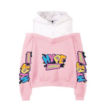 Summer Fashion The Hype House Harajuku Sports Hoody Ladies Off Shoulder Sweatshirt Campus Pink Hip Hop Off Shoulder Pullover