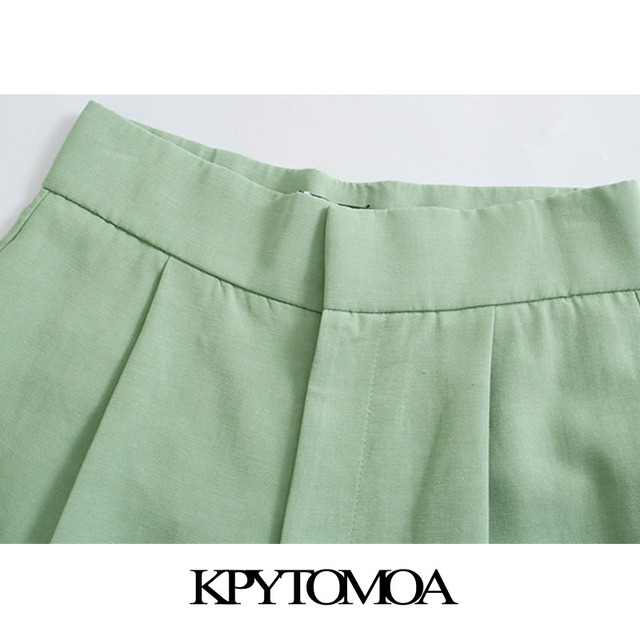 KPYTOMOA Women 2021 Chic Fashion Side Pockets Linen Bermuda Shorts Vintage High Waist Zipper Fly Female Short Pants Mujer 3