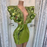 Green Prom Gown Short Sequined robe de soiree Beaded Arabic Party Dresses Night Formal Gowns Woman Custom Made Designed