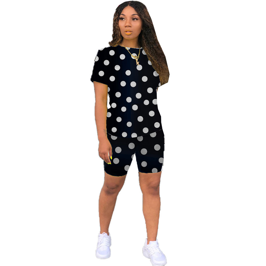 HAOYUAN Plus Size Polka Dot Two Piece Set Women Fall Tracksuit Clothing Top And Shorts Sweat Suits Matching Sets 2 Piece Outfits