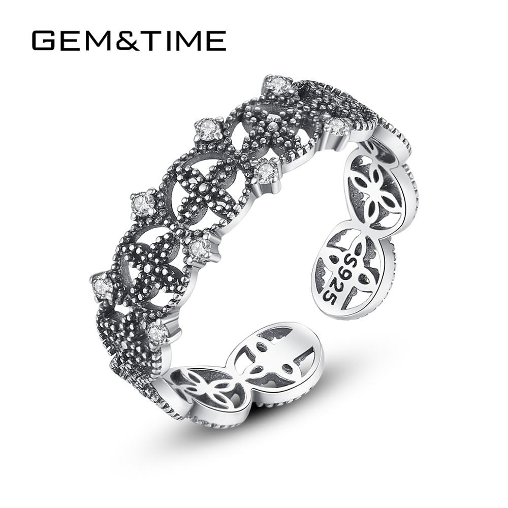 Gem&Time Vintage Zircon Flower Adjustble Rings Sterling 925 Silver Tibetan Silver Finger Rings Female Anillos Jewelry Gift SR018