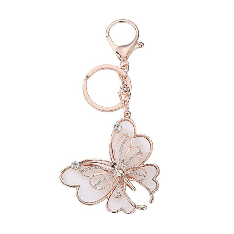 Gold Rhinestone Butterfly Keychain Purse Bag Pendant Charms Decoration