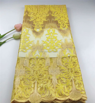 Luxury African Lace Fabric Yellow Sequins French Lace High Quality Sequin Tulle Fabric Embroidery Lace For Party Materials HSFZF