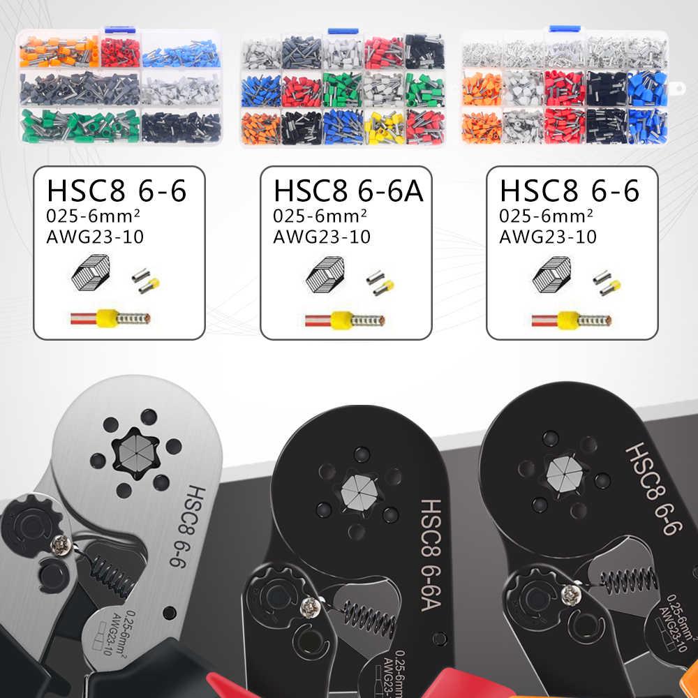 HSC8 6-6A כלי מסוף שילוב משלוח התאמת חליפת תיבת דקות סוג עצמי מתכוונן לחיצה PLIER 0.25-6mm מסופים crimping