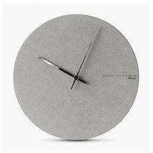 Chique redondo relógio de parede escandinavo decoração do quarto mudo agulha relógio preto cinza mdf minimalista placa pendurado relógios