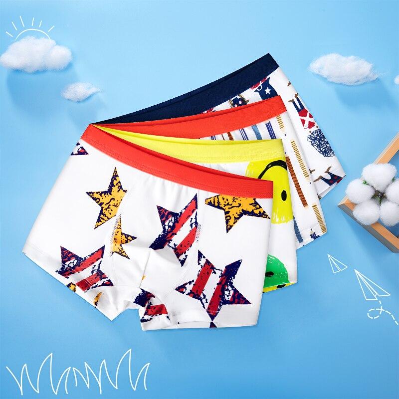 4 Pcs High Quality Children's Underwear for Kids Cartoon Cat Shorts Soft Cotton Underpants Boys Teenage Striped Panties 4-16T 4