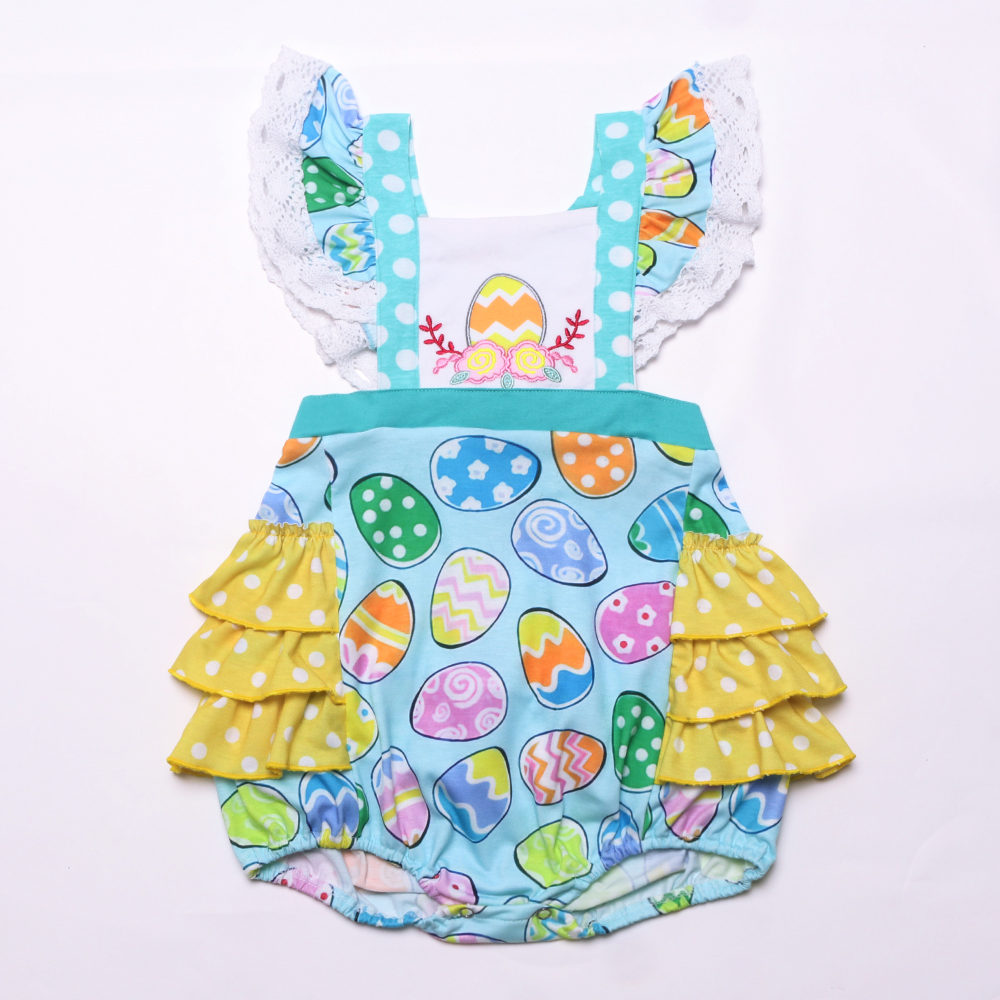 Easter Newborn Kids Summer Cute Embroidery Boutique Clothes Girl Baby Bubble