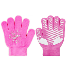 Children Skating Gloves Sports Full Finger Rhinestone Winter Warmer Thermal Handwear Outdoor Sportswear Accessories