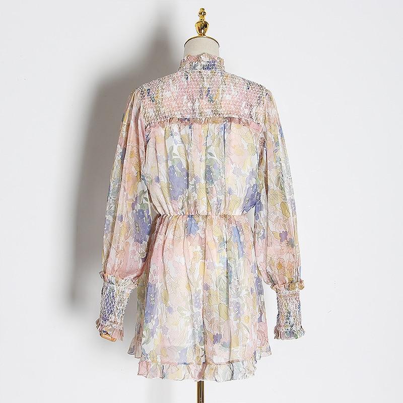 Chiever Casual Print Patchwork jumpsuits mujer linterna de cuello alto manga larga de cintura alta de encaje Up jumpsuit mujeres 2019 Tide - 2