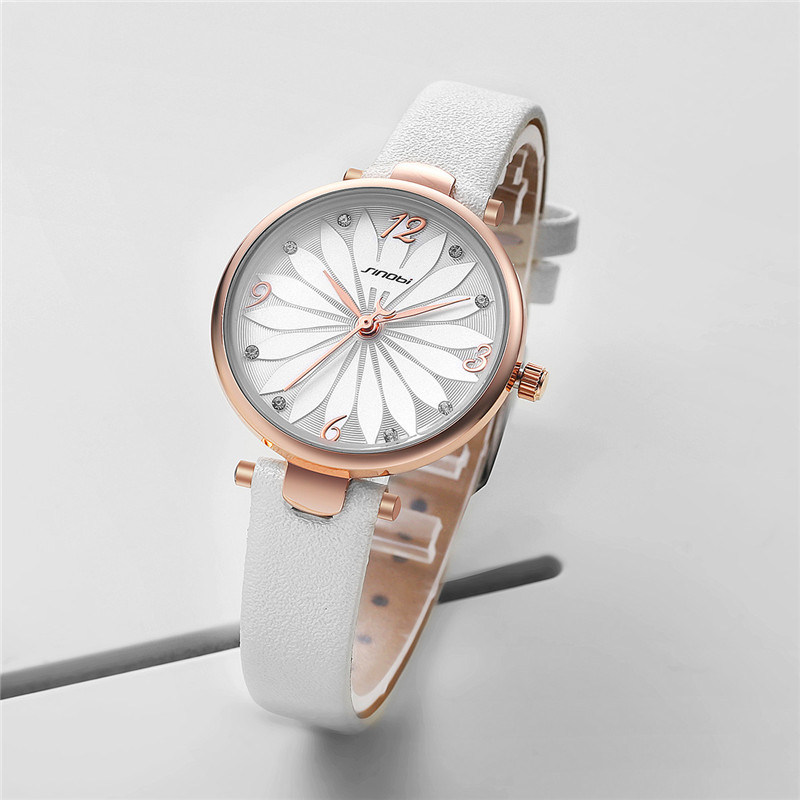 Sinobi Flower Watches Luxury Ladies Watch Leather Watches Fashion Quartz Wristwatches Kol Saati Diamond Reloj Mujer Geneva Clock