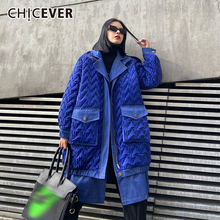 Coat CHICEVER Clothing Stand-Collar Oversized Female Winter Cotton Fashion Women Casual