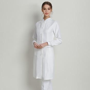 White Nurse Dress Medical Scrub Uniform Hospital Nurses Dresses Infinity Xtreme Soft 4-way Stretch Dental Clinic SPA Uniforms