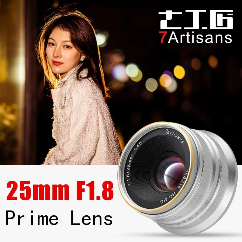 Objectif manuel 7artisans 25mm F1.8 pour appareil photo Canon EOS M A7 A7II A7R Sony E monture Fuji FX Macro MFT/M4/3 monture livraison gratuite