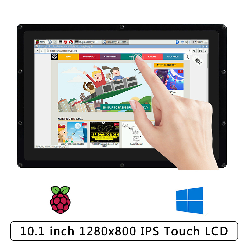 10.1 Inch 1280x800 LCD For Raspberry Pi 4 Capacitive Touch Screen IPS With Holder For Raspberry Pi 4 Model B/3B+/Zero/PC