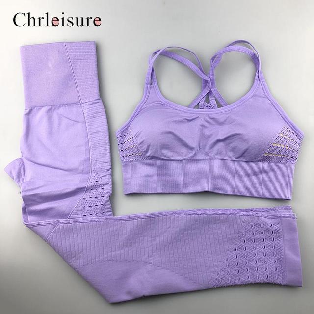 Fitness Seamless Set Women Sportswear Woman Gym Leggings Push-up  Sporty Bra 2 Pcs Suits Feamle 1