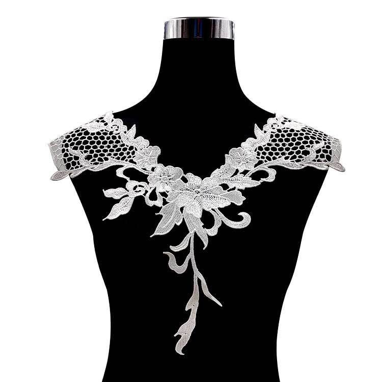 2Pcs Black Lace Fabric Dress Applique Blouse Sewing Neckline Embroidered Hollow Boutonniere Flower Fake Collar Decoration