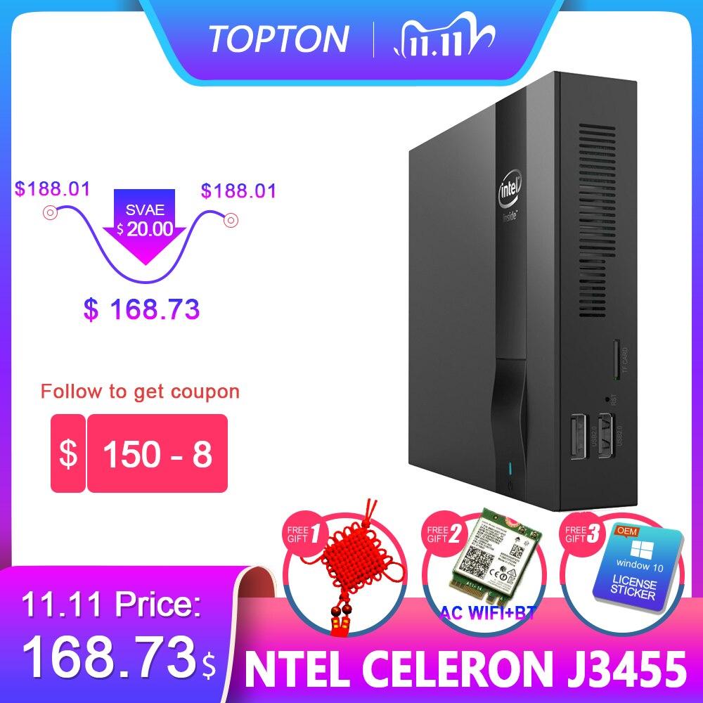 Topton nuc mini pc intel celeron j3455 apollo lago quad-core 8gb ram 128gb m.2 ssd genuíno windows 10 wifi bluetooth hdmi vga