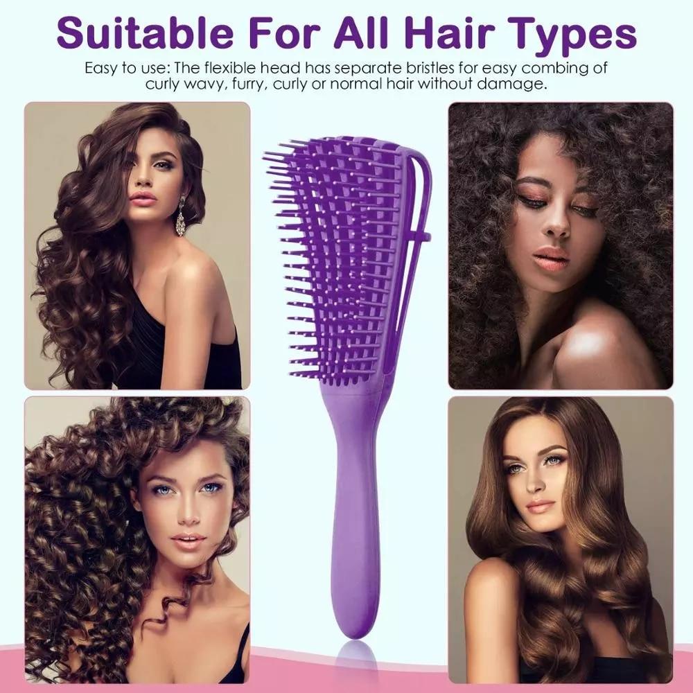 Щетка для спутывания волос YBLNTEK, Массажная щетка для влажных волос, щетка для спутывания волос 2 А до 4c, волнистые/кудрявые/мягкие/Влажные/сух...