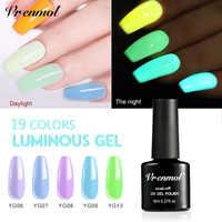 Vrenmol 1 pièces Gel lumineux Fluorescent vernis à ongles imbiber Gel UV nuit lueur dans le Gel lustré foncé vernis à ongles Gel besoin couche de finition de Base
