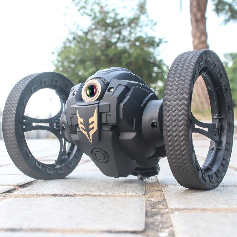 Rc bounce car 2.4g jumping car with wifi camera 2.0mp flexible wheels rotation led night light rc robot car