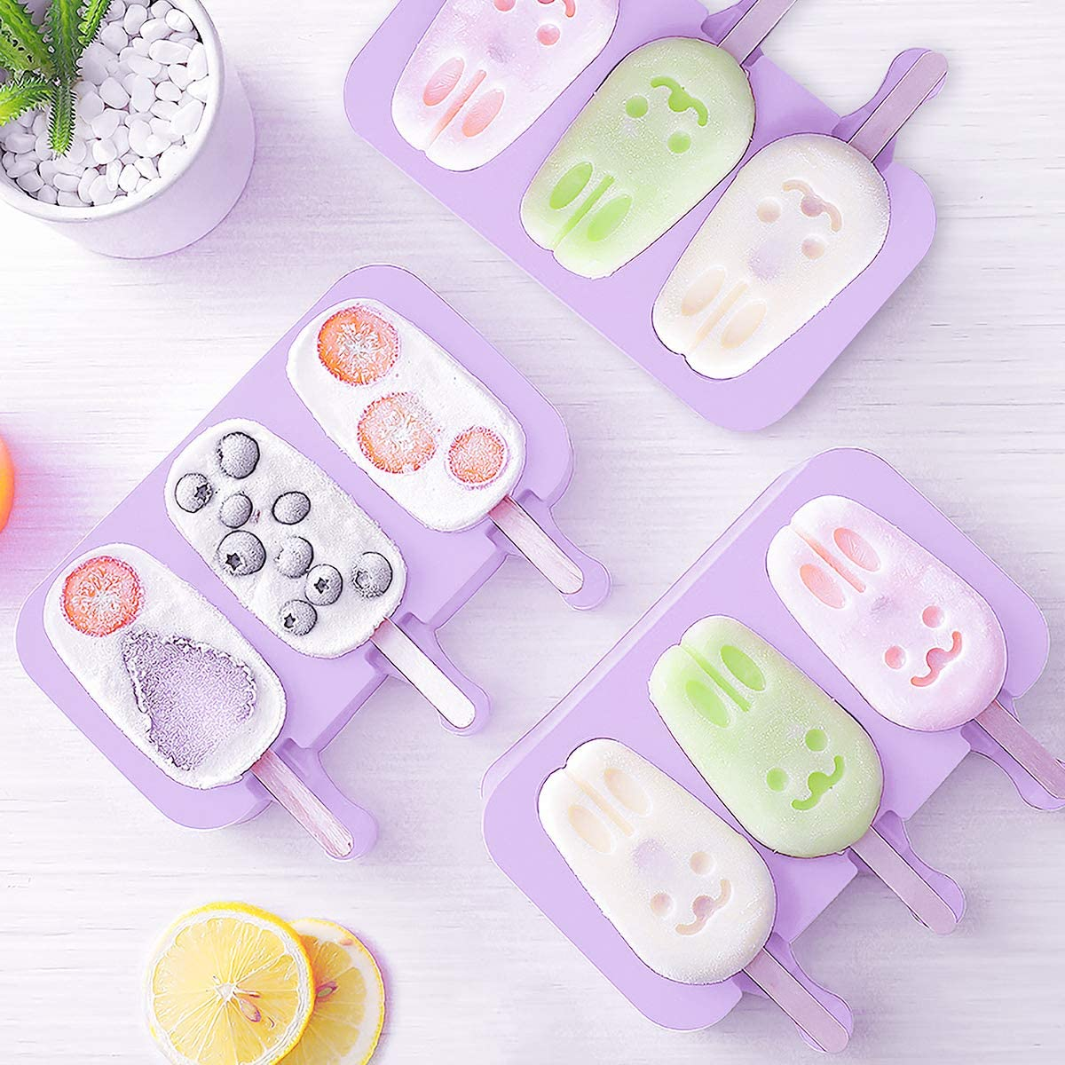 DIY Homemade Cartoon Ice Cream Cute Popsicle Ice Lolly Maker Food Grade Silicone Ice Cream Mold For Home Kitchen Accessories