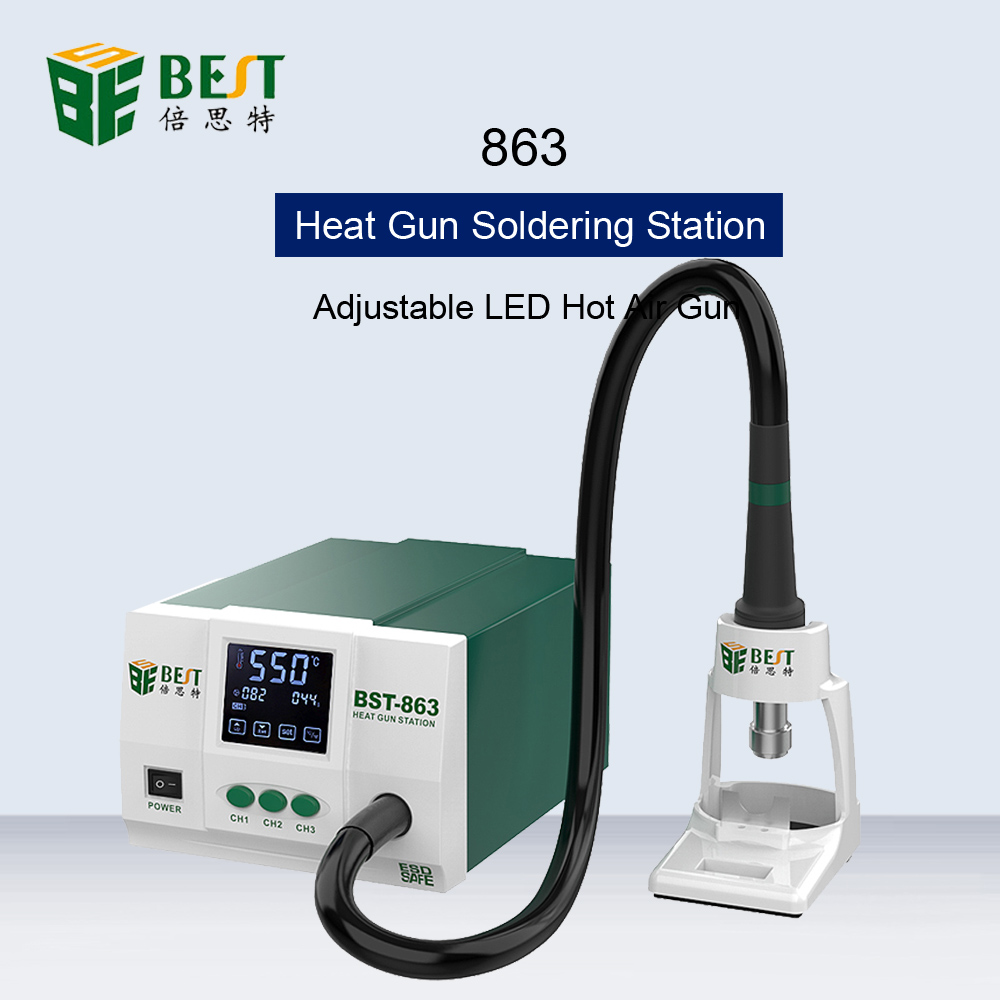 BST-863 Lead-Free Hot Air Gun Soldering Station LCD Display Touch Screen Constant Temperature Heat Gun Desoldering Station