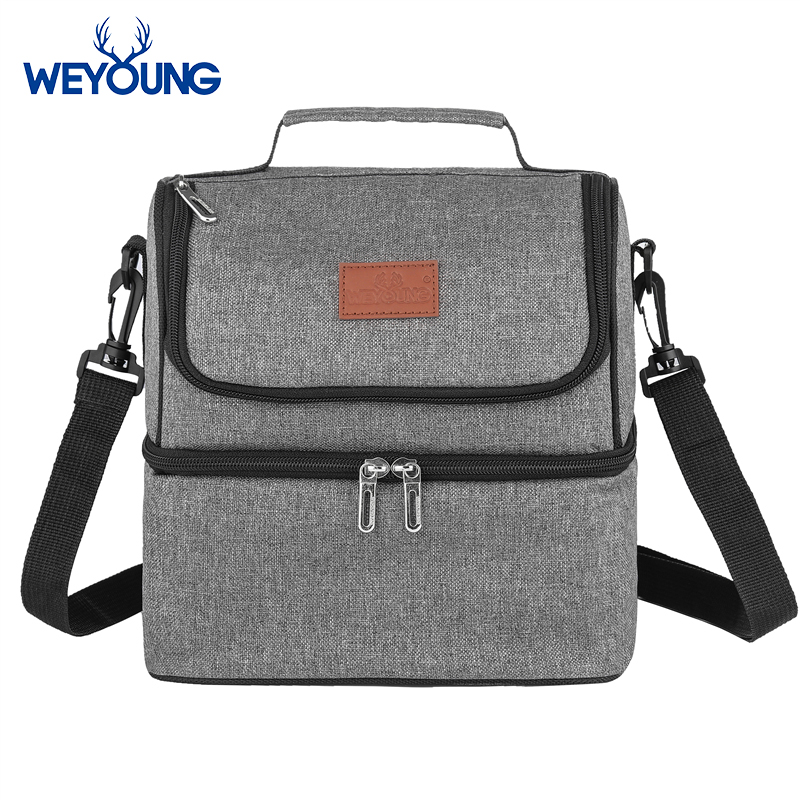 New Double Layer 9L Insulated Thermal Cooler Lunch Box Bag For Work Picnic Bag Bolsa Termica Loncheras Para Mujer For Student