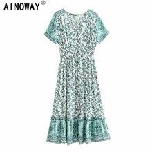 Vintage chic kobiety zielona w kwiaty drukuj z krótkim rękawem plaża czeski happie maxi sukienka damska botton letnia sukienka Boho vestidos