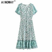 בציר שיק נשים ירוק פרחוני הדפסה קצר שרוול חוף בוהמי happie מקסי שמלת גבירותיי בוטון קיץ Boho שמלת vestidos