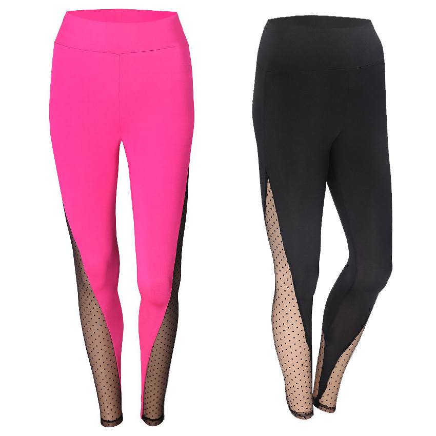 Beauty luo shi Europe And America Spring And Autumn New Style Flocked Dotted Joint Yoga Pants Quick-Dry Sports Running Breathabl