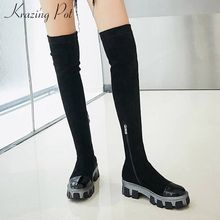 Krazing topf high street fashion kuh leder stretch flock stiefel runde kappe high heels dicken boden frauen zip oberschenkel hohe stiefel L24(China)